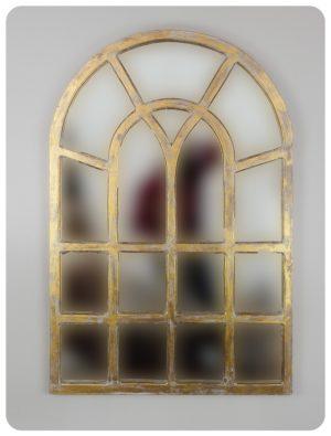 Espejo de pared decorativo Africani Oval Pan de oro de 120x80cm. Rococó