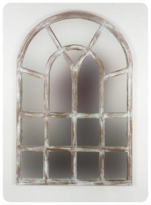 Espejo de pared decorativo Africani Oval Blanco (envejecido) de 120x80cm. Rococó