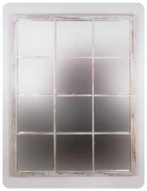 Espejo de pared decorativo Tuscani Window Blanco (envejecido) de 130x100cm. Rococó