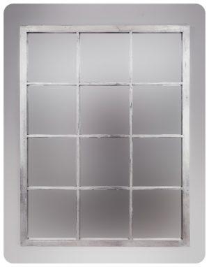 Espejo de pared decorativo Tuscani Window Plata (envejecida) de 130x100cm. Rococó