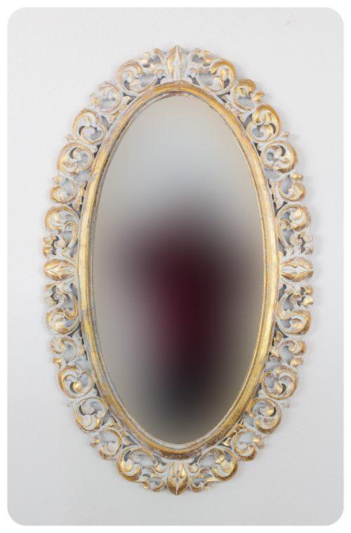 Espejo de pared decorativo Ovali Buriro Pan de oro de 100x60cm. Rococó