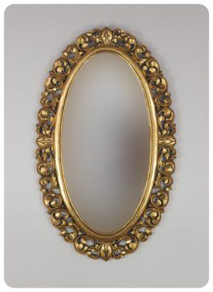 Espejo de pared decorativo Ovali Buriro Oro (envejecido) de 100x60cm. Rococó