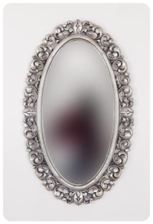 Espejo de pared decorativo Ovali Buriro Plata (envejecida) de 100x60cm. Rococó