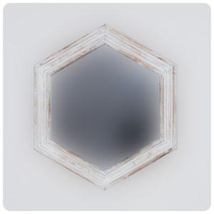 Espejo de pared decorativo Sudut Eight Blanco (envejecido) de 50x5cm. Rococó
