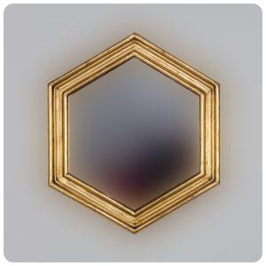 Espejo de pared decorativo Sudut Eight Oro (envejecido) de 50x50cm. Rococó