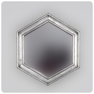 Espejo de pared decorativo Sudut Eight Plata (envejecida) de 50x50cm. Rococó