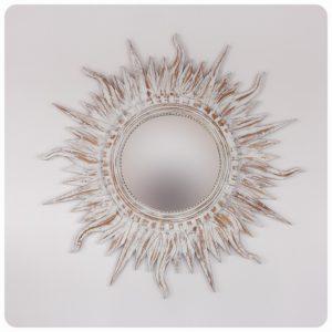 Espejo de pared decorativo Ombak Api Teak Blanco (envejecido) de 110x110cm. Rococó