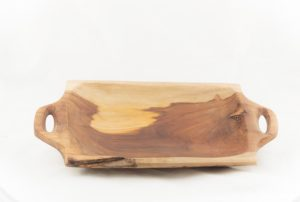 Bandeja rectangular de madera de teca de 40x20x6