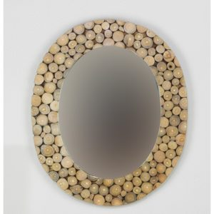 Espejo de pared decorativo Espejo ovalado monedas de madera Natural de 60x50cm. Rococó