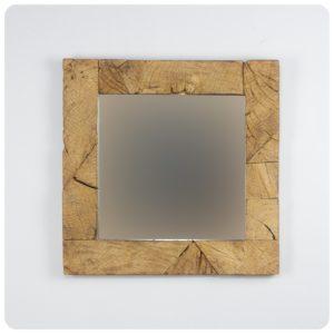 Espejo de pared decorativo Espejo cuadrado de teca reciclada Natural de 60x60cm. Rococó