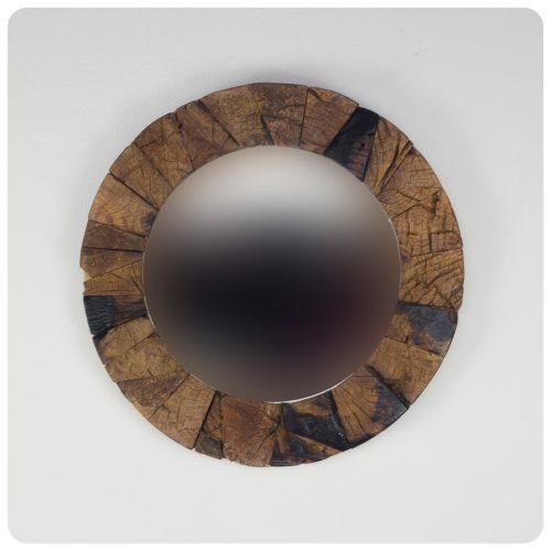 Espejo de pared decorativo Espejo redondo de teca reciclada Natural de 60x60cm. Rococó