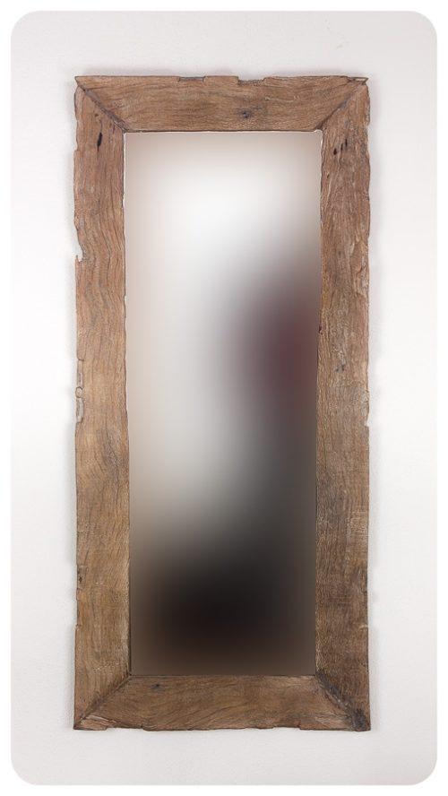 Espejo de pared decorativo Espejo rústico antigüo de teca Natural de 138x62cm. Rococó