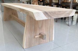 Banco de Suar rústico con pata de madera de 200cm