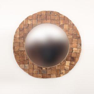 Espejo de madera de teca reciclada