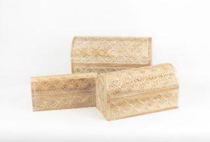 Baúles tallados de madera de teca