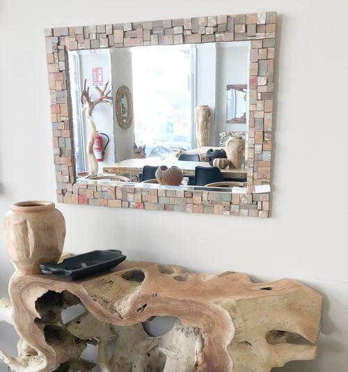 Espejo de madera reciclada colores
