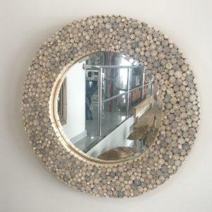 espejo monedas de madera