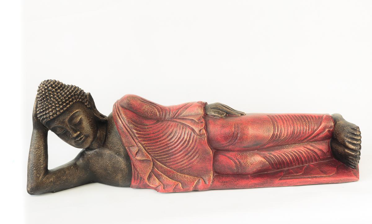 Buda tumbado de 81 cm acabado rojo | Rococo