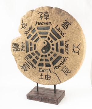 Figura pedestal ying/yang de fibrocemento de 110cm de alto  | Rococo