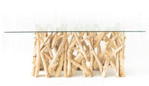 Mesa de maderas de teca reciclada con cristal de 110x200cm | Rococo