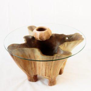Mesa centro de teca tipo bowl estrela de 80cm