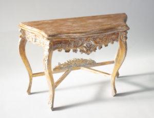 Consola Bunga de madera y en blanco con pan de oro de 105x38x75cm
