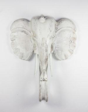 Figura gigante de elefante tallado en madera. 100 cm.