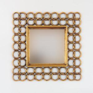 Espejo decorativo de madera Gold Chaine Square de 50x50cm en Oro