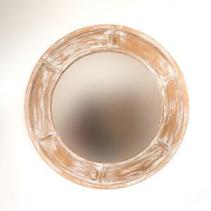 Espejo decorativo Round Parlo de 100x100cm en Blanco decapado