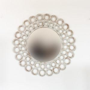 Espejo decorativo de madera Round Gold Ring de 80x80cm en Blanco decapado