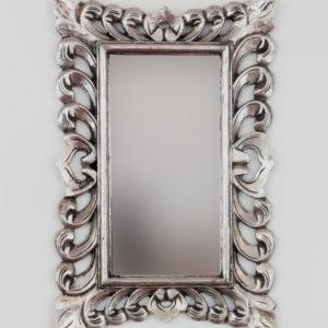 Espejo de pared decorativo acabado en plan de plata envejecido