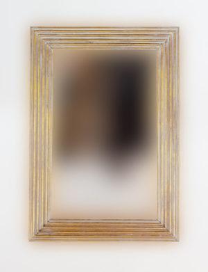 Espejo decorativo de madera Bulig de 70x100 en blanco y pan de oro