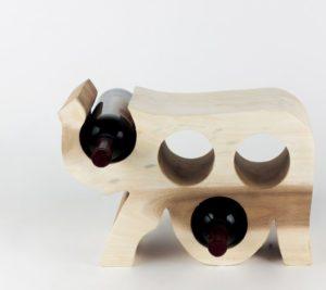 """Botellero de madera """"Elephant"""" de 30x20x11 de madera de Suar"""
