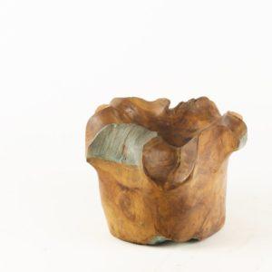 Bol de madera de Teca de forma natural de 18x18cm aprox.