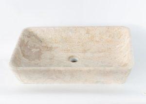 Lavabo de mármol claro rectangular de 60x40x12cm