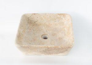 Lavabo de mármol claro cuadrado de 40x40x12cm