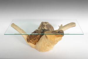 Mesa de Olivo de tronco natural de 38x70x117 | MiRococo.com