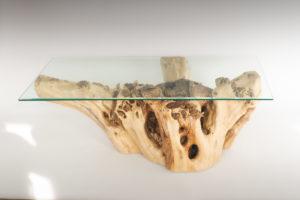 Mesa de Olivo de tronco natural de 37x65x120 | MiRococo.com