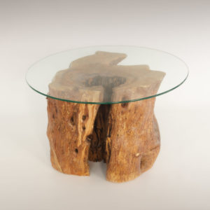 Mesa de Olivo de tronco natural de 42x50x50 | MiRococo.com
