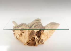 Mesa de Olivo de tronco natural de 38x65x101 | MiRococo.com