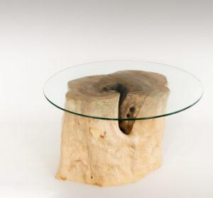 Mesa de Olivo de tronco natural de 37x38x50 | MiRococo.com