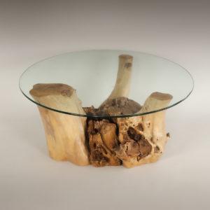 Mesa de Olivo de tronco natural de 37x70x70 | MiRococo.com