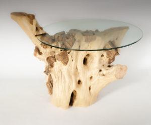 Mesa de Olivo de tronco natural de 50-75x45x100 | MiRococo.com