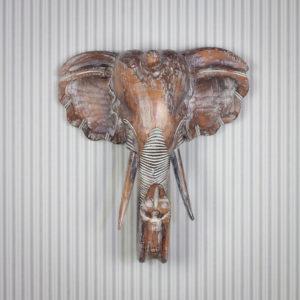 Figura elefante tallada a mano para pared, de 50x45cm y acabado en madera con decapado, muy original y decorativa.