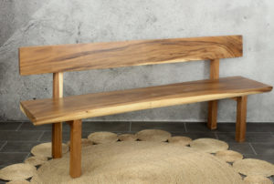 Banco de madera maciza de Suar con respaldo