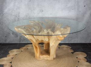Mesa redonda de raíz de teca