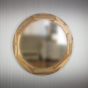 Espejo redondo de madera de teca natural