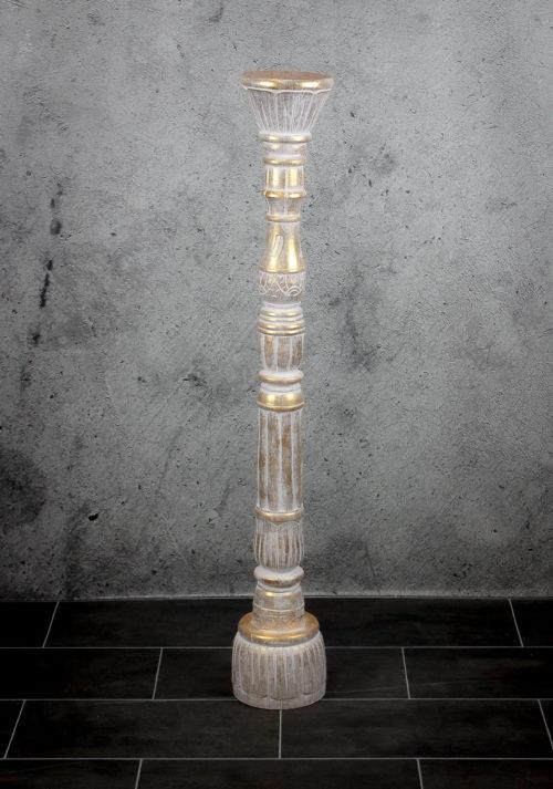 Candelabro de suelo alto de madera y pan de oro