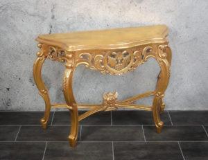 Consola decorativa de entrada en pan de oro envejecido