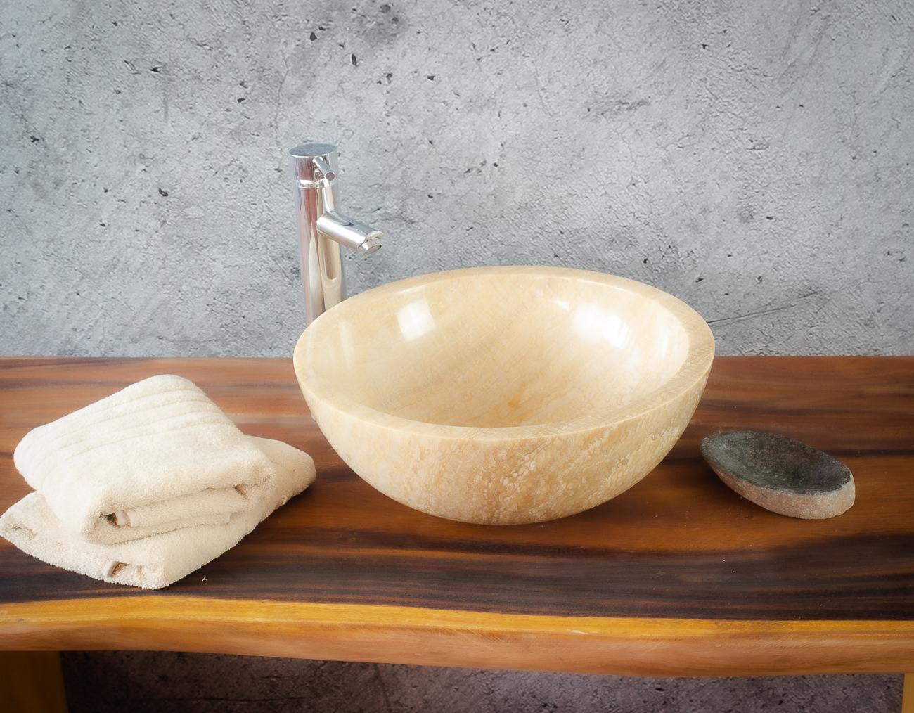 Lavabo de ónyx tipo cuenco redondo (Imágenes reales) 40x40cm piezas únicas | mirococo.com